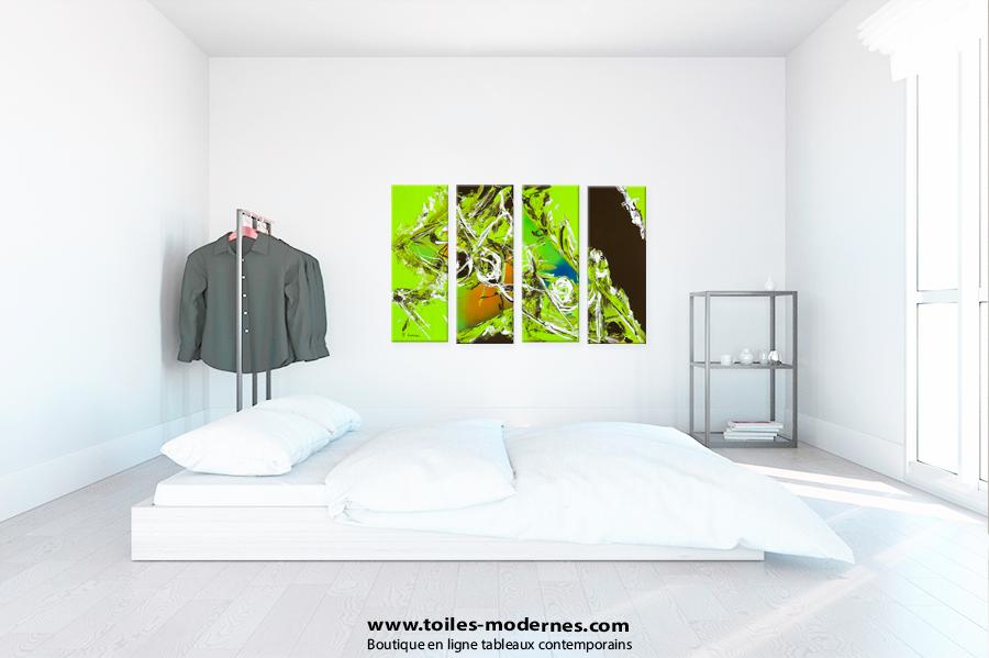 Quadriptyque contemporain vert marron grand format paysage for Tableau minimaliste