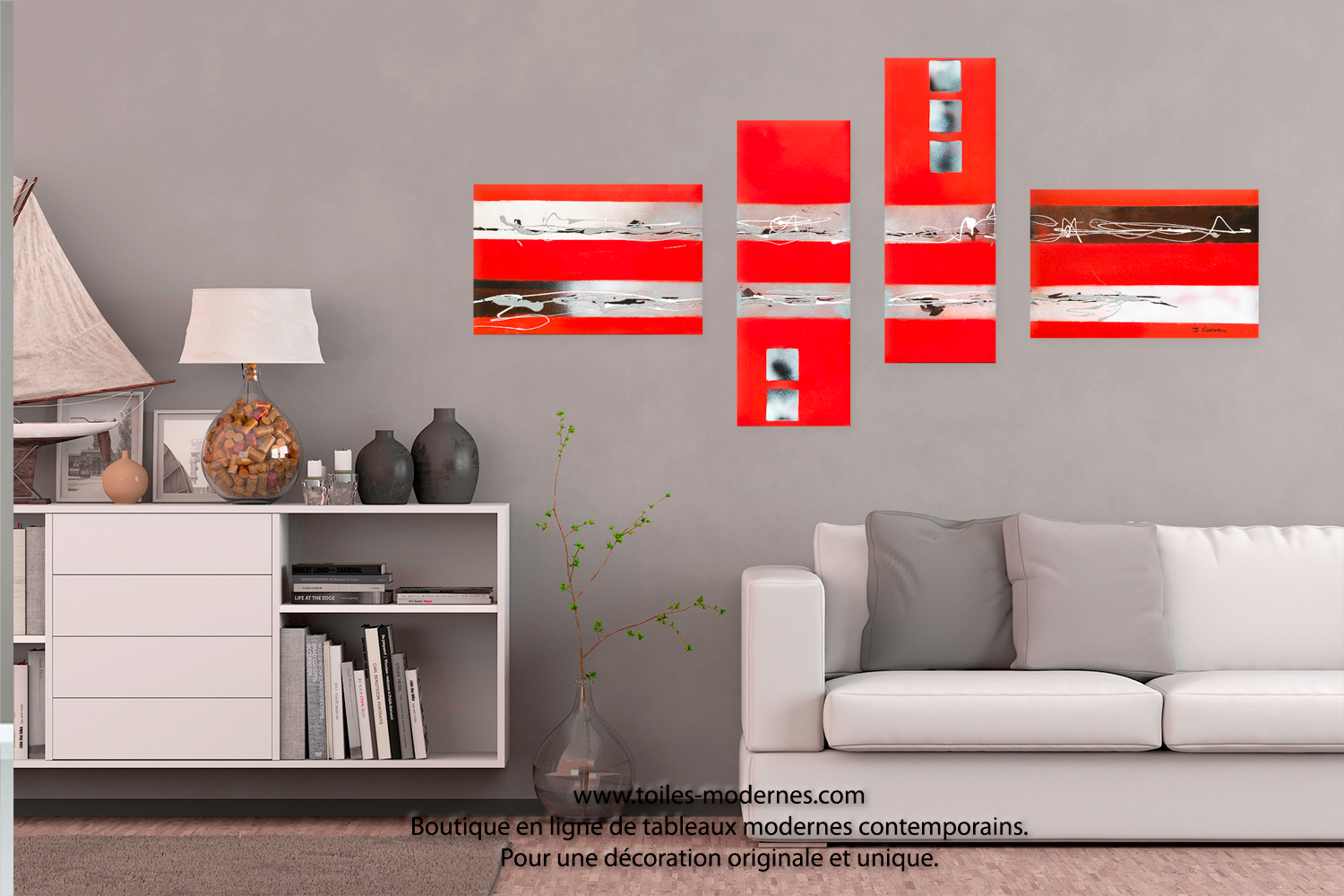 grand tableau quadriptyque rouge la f te de la musique. Black Bedroom Furniture Sets. Home Design Ideas