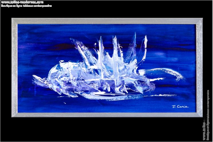 Tableau moderne horizontal bleu tableau contemporain bleu for Tableau bleu et gris
