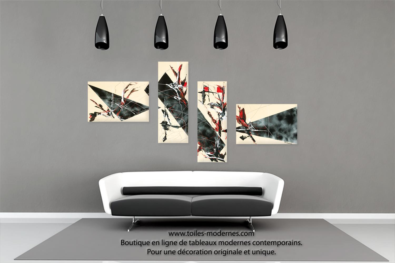 Tableau quadripyque d co beige et noire ultra design dimensions importantes p - Tableau decoration salon ...