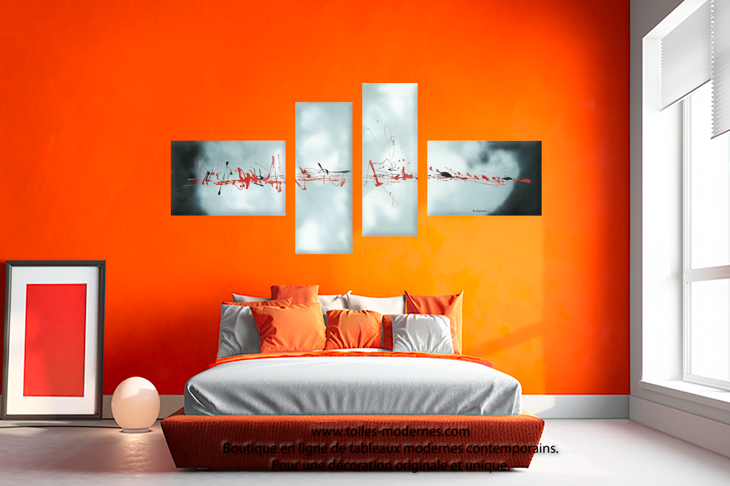 Peinture blanc orange salon for Association des couleurs en decoration