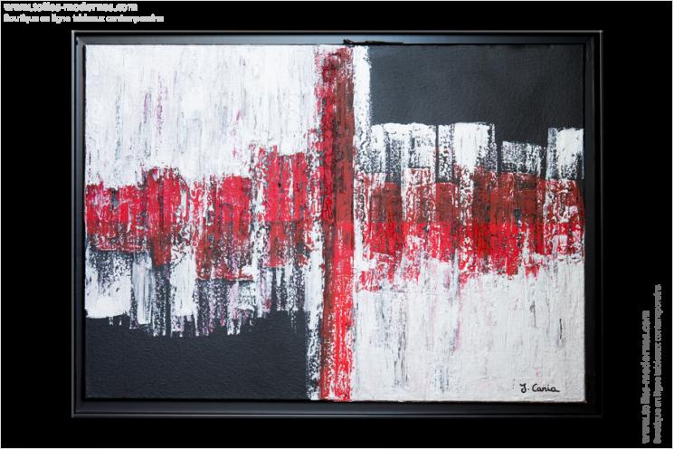 tableau moderne rectangle rouge noir gris tableau contemporain horizontal design. Black Bedroom Furniture Sets. Home Design Ideas