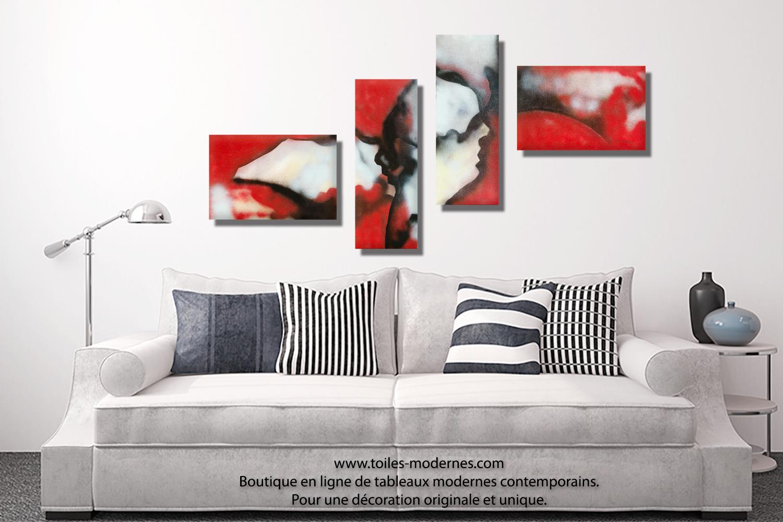 Tableau rouge et noir quadriptyque abstrait Visages du ...