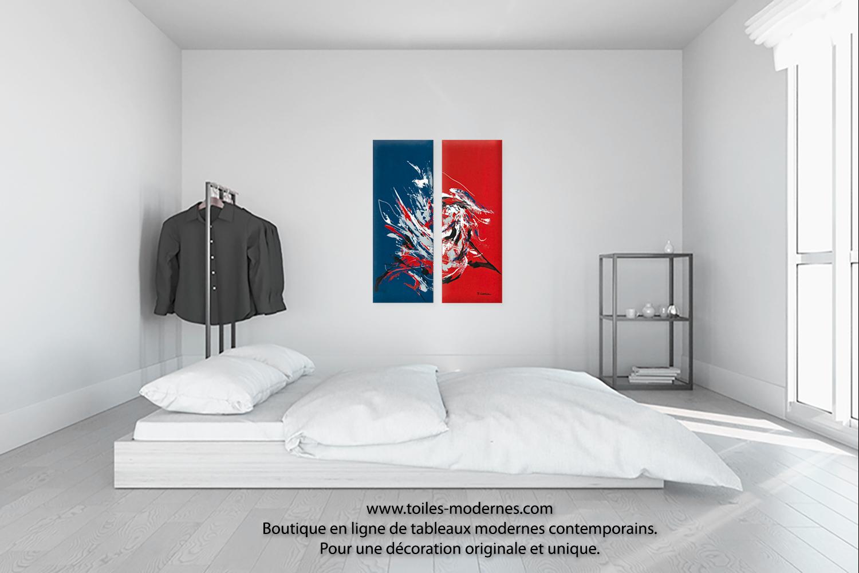 Tableau d'art moderne triptyque rouge bleu le grand festival ...