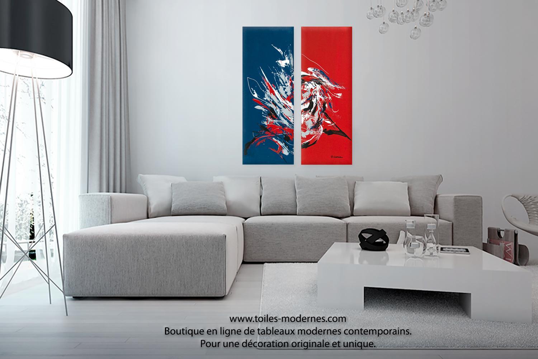 Tableau d 39 art moderne triptyque rouge bleu le grand festival format portr - Tableau moderne grand format ...