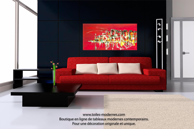 Tableau peinture rouge nouveaut d co grand format for Tableau decoration interieur moderne