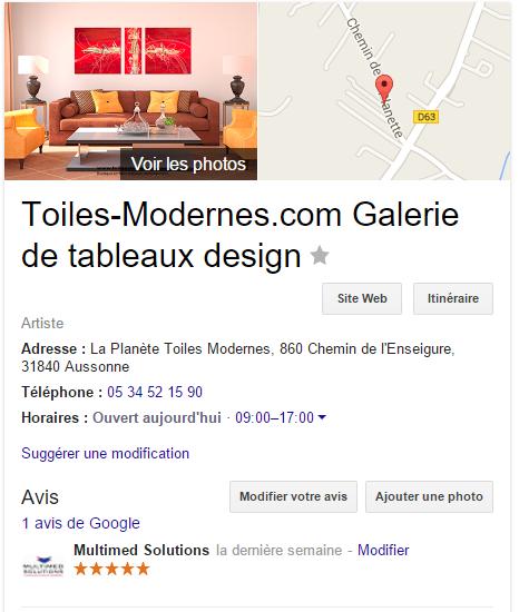Fiche de la galerie Toiles-Modernes.com