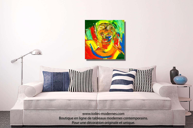 tableau aviateur color moderne carr peinture artistique. Black Bedroom Furniture Sets. Home Design Ideas