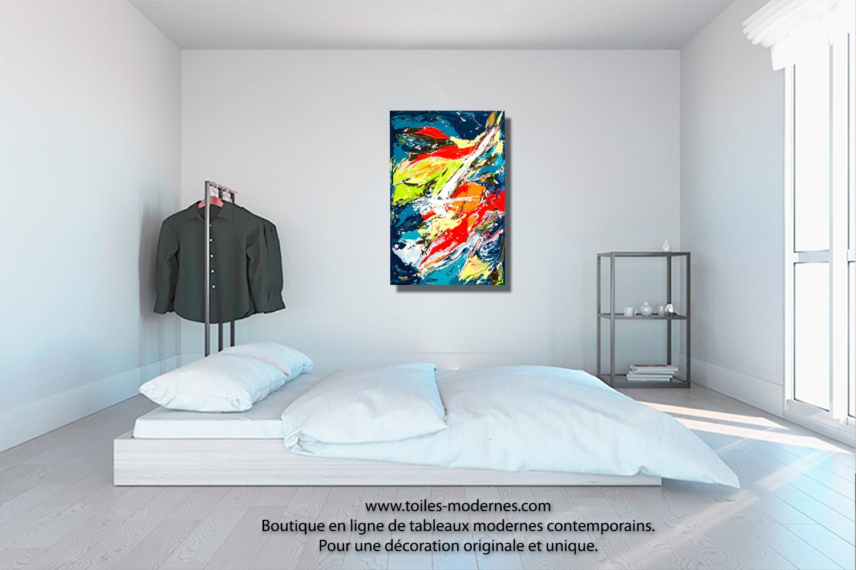 Tableau mer color objet d 39 exception unique format portrait art d co peti - Toiles modernes design ...