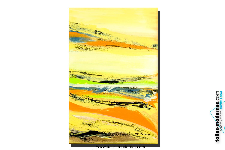 Tableau campagne vert jaune orange format vertical art for Paysage design