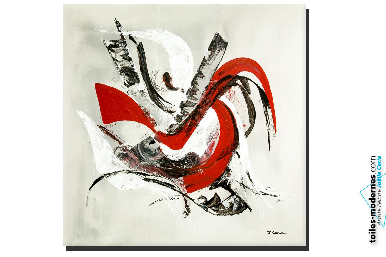 tableau abstrait gris et rouge toile de peinture abstraite grisrouge x with tableau abstrait. Black Bedroom Furniture Sets. Home Design Ideas