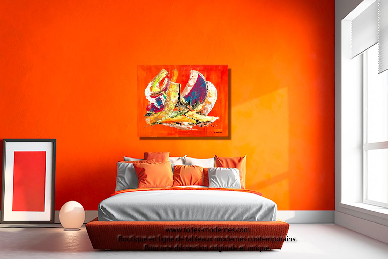 Tableau orange abstrait format horizontal pour décoration murale