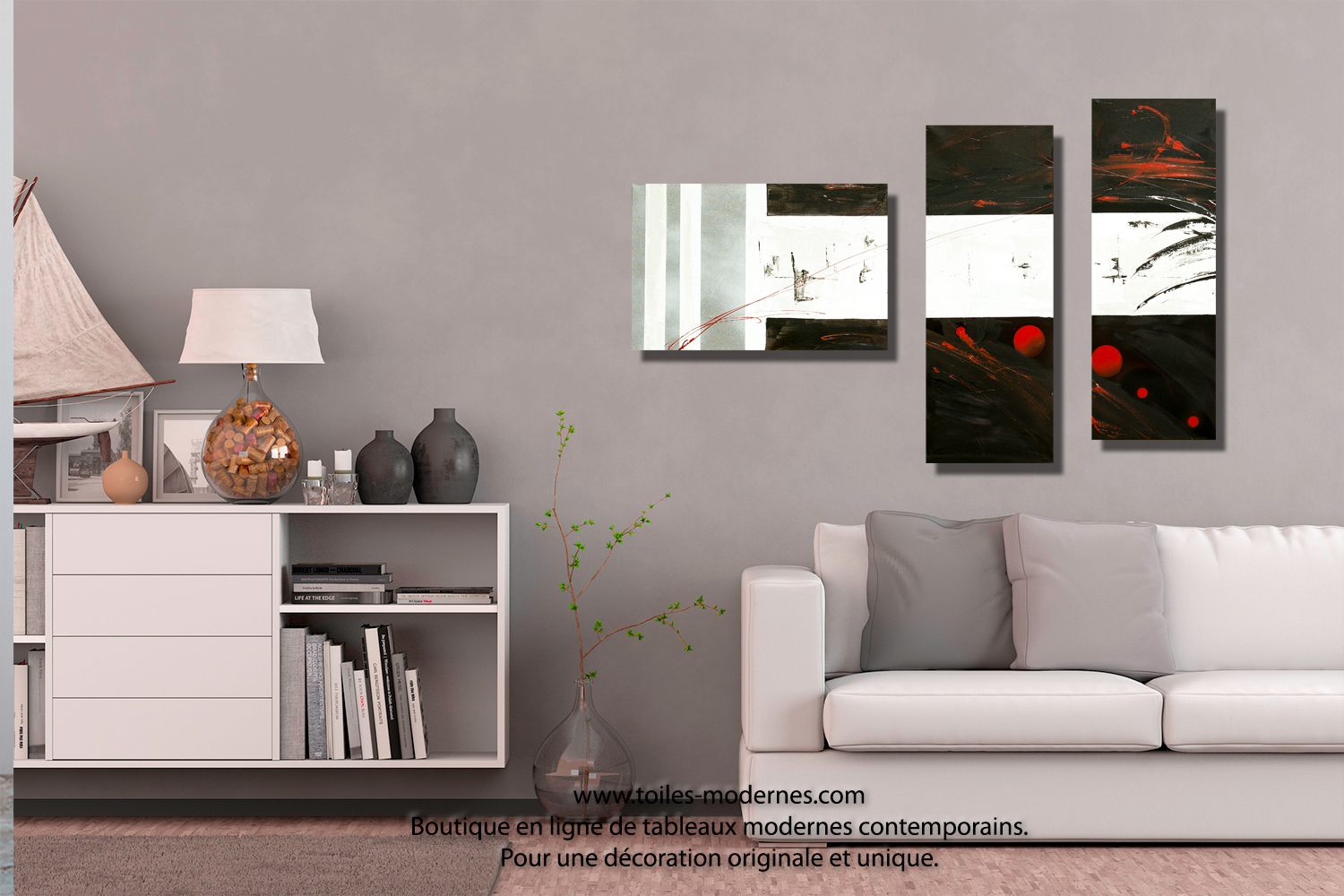 tableau dessin graphique noir blanc triptyque abstrait panoramique d co minimaliste. Black Bedroom Furniture Sets. Home Design Ideas