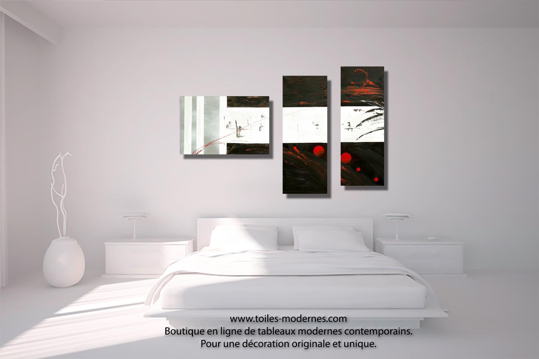 Tableau dessin graphique noir blanc triptyque abstrait for Decoration chambre noir et blanc