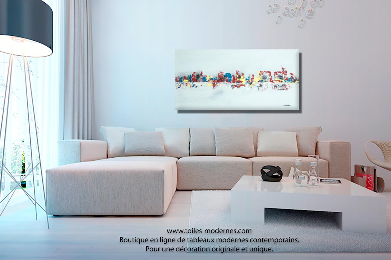 Cadre Au Dessus Du Canapé tableau gris moderne ville format horizontal pièce unique
