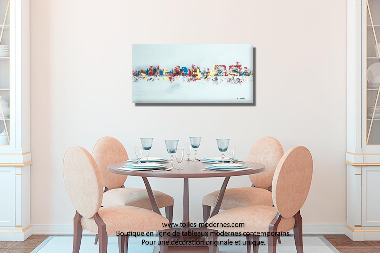 tableau gris moderne ville format horizontal pi ce unique abordable pour d co d 39 exception. Black Bedroom Furniture Sets. Home Design Ideas