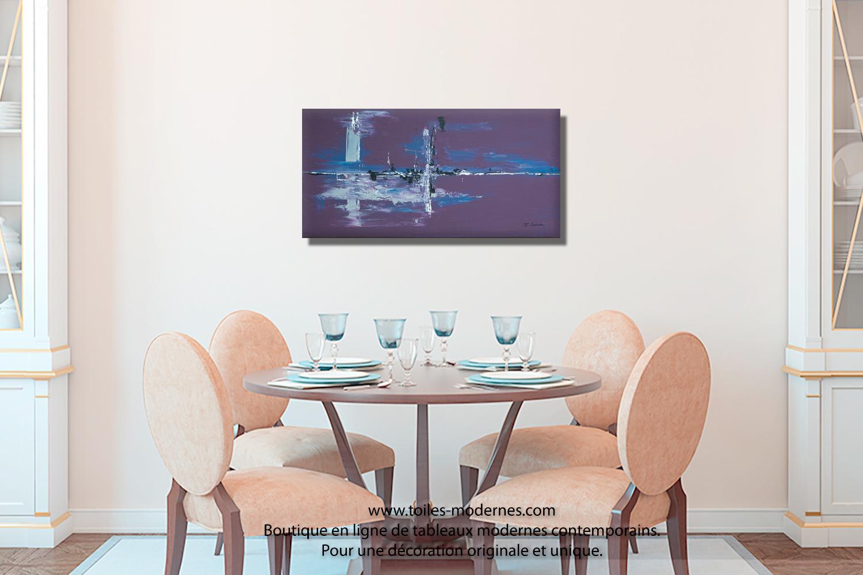 Tableau violet aubergine moderne grand format horizontal for Tableau salle a manger