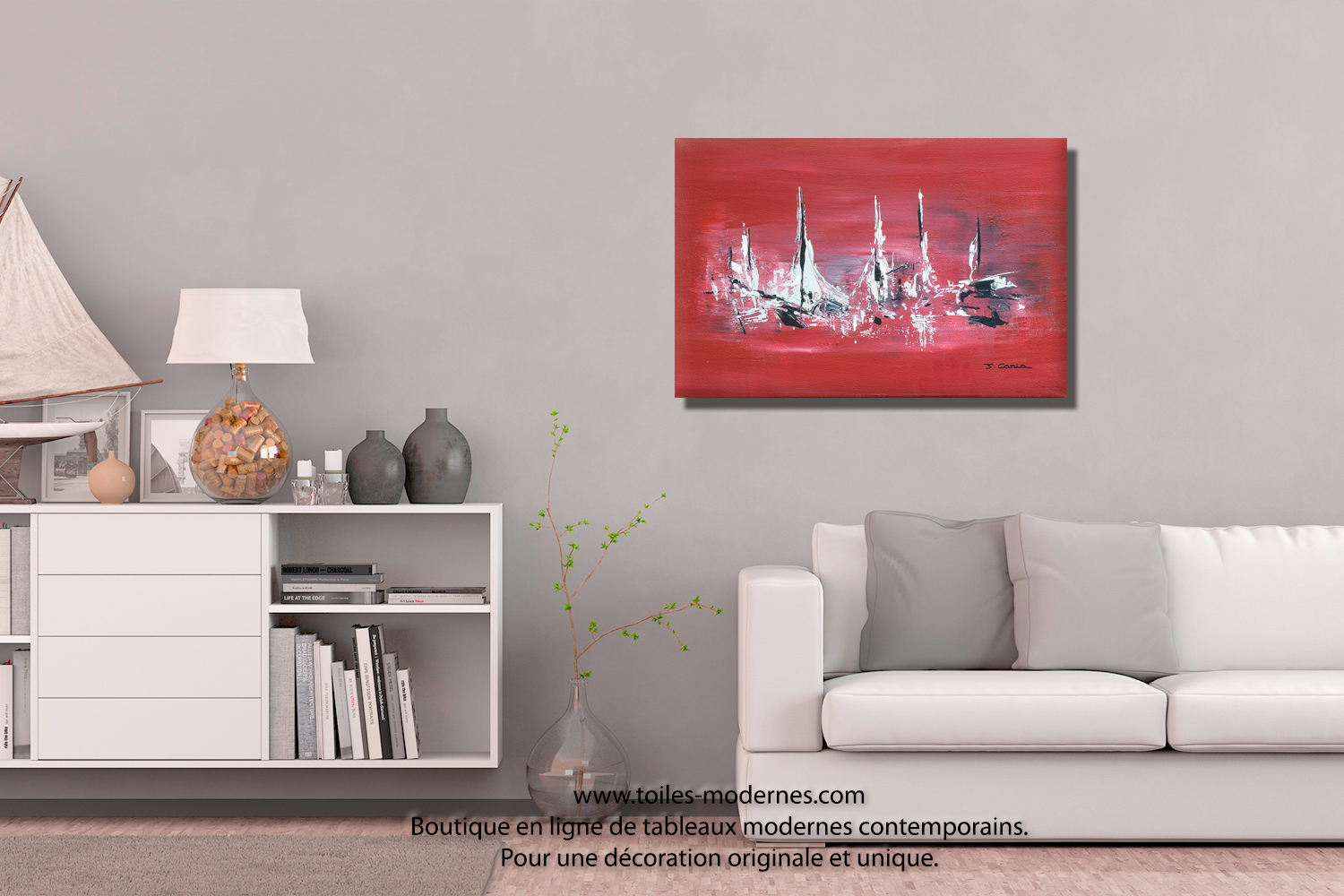 tableau bateaux rouge moderne horizontal objet d co pas cher unique et original. Black Bedroom Furniture Sets. Home Design Ideas