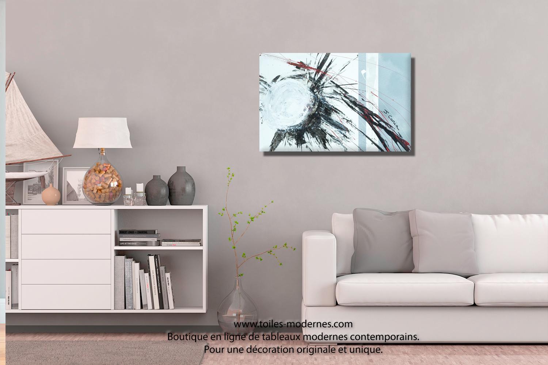 Tableau blanc gris abstration moderne format paysage d co for Objet deco noir blanc interieur