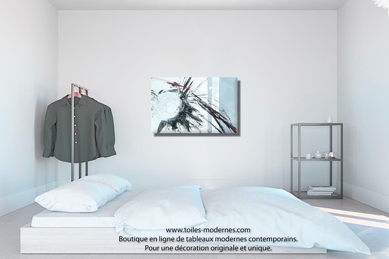 Tableau blanc gris abstration moderne format paysage d co art unique petit prix - Tableau gris et blanc ...