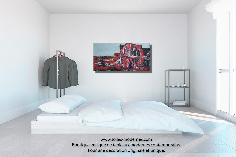 tableau toile panoramique vision rouge et noire moderne. Black Bedroom Furniture Sets. Home Design Ideas