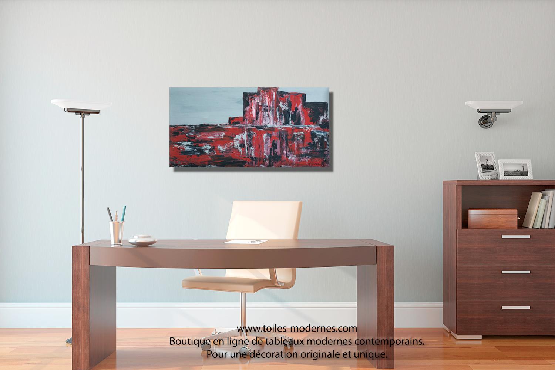Tableau toile panoramique vision rouge et noire moderne