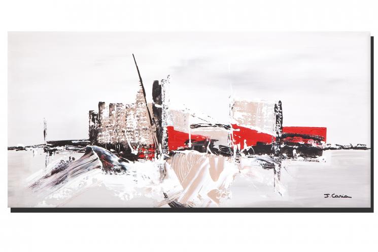 Tableau panoramique gris taupe Rêve de la ville