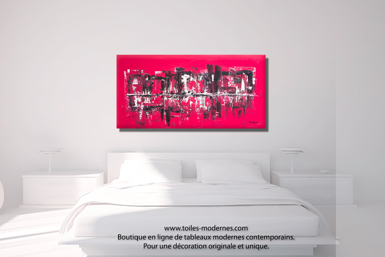 grand panoramique moderne rouge framboise tableau ville abstraite d coration luxueuse tendance. Black Bedroom Furniture Sets. Home Design Ideas