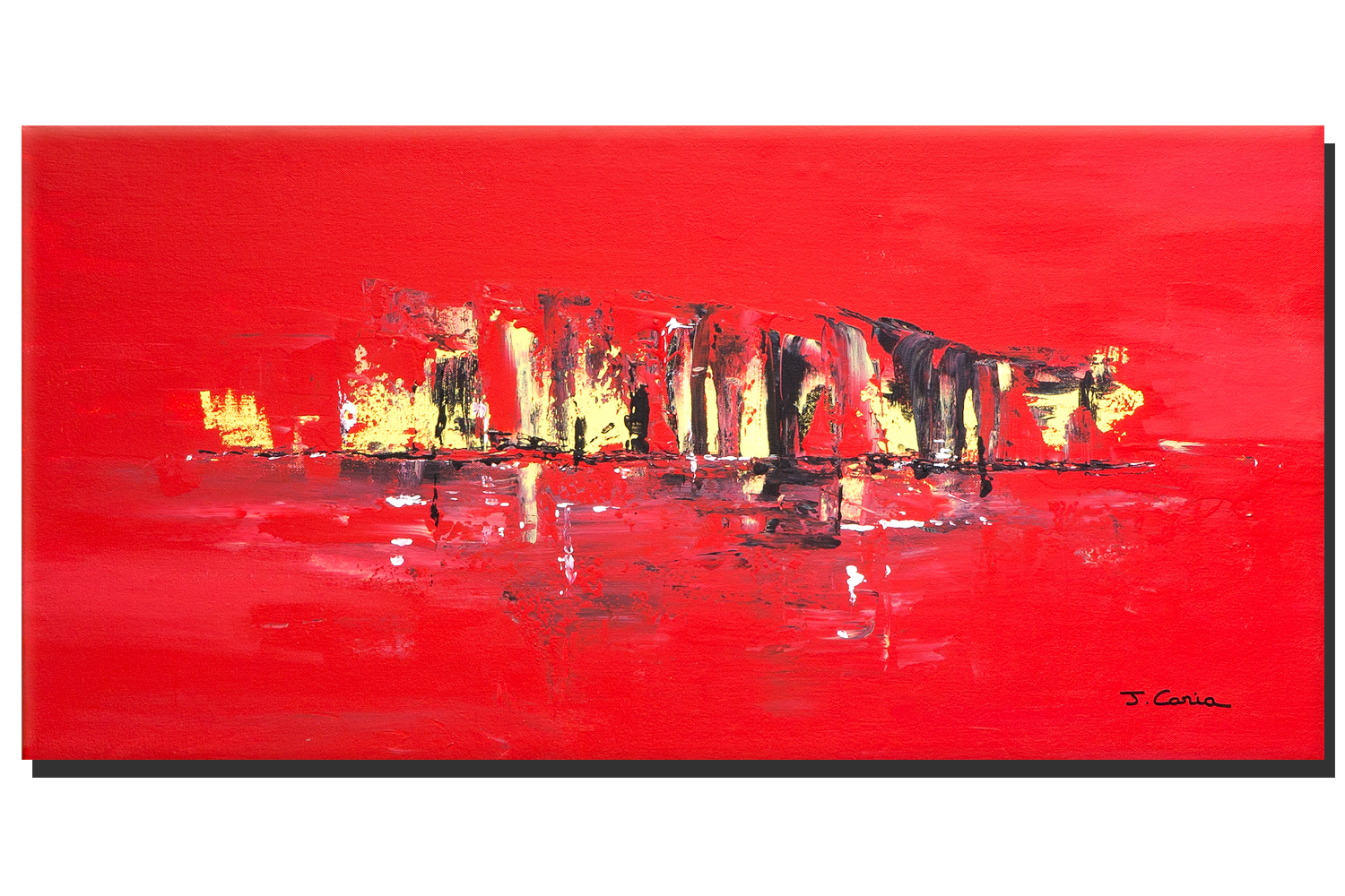 Tableau mer contemporain rouge format panoramique grandes dimensions d co couleur intense - Ville melange de rouge et blanc ...