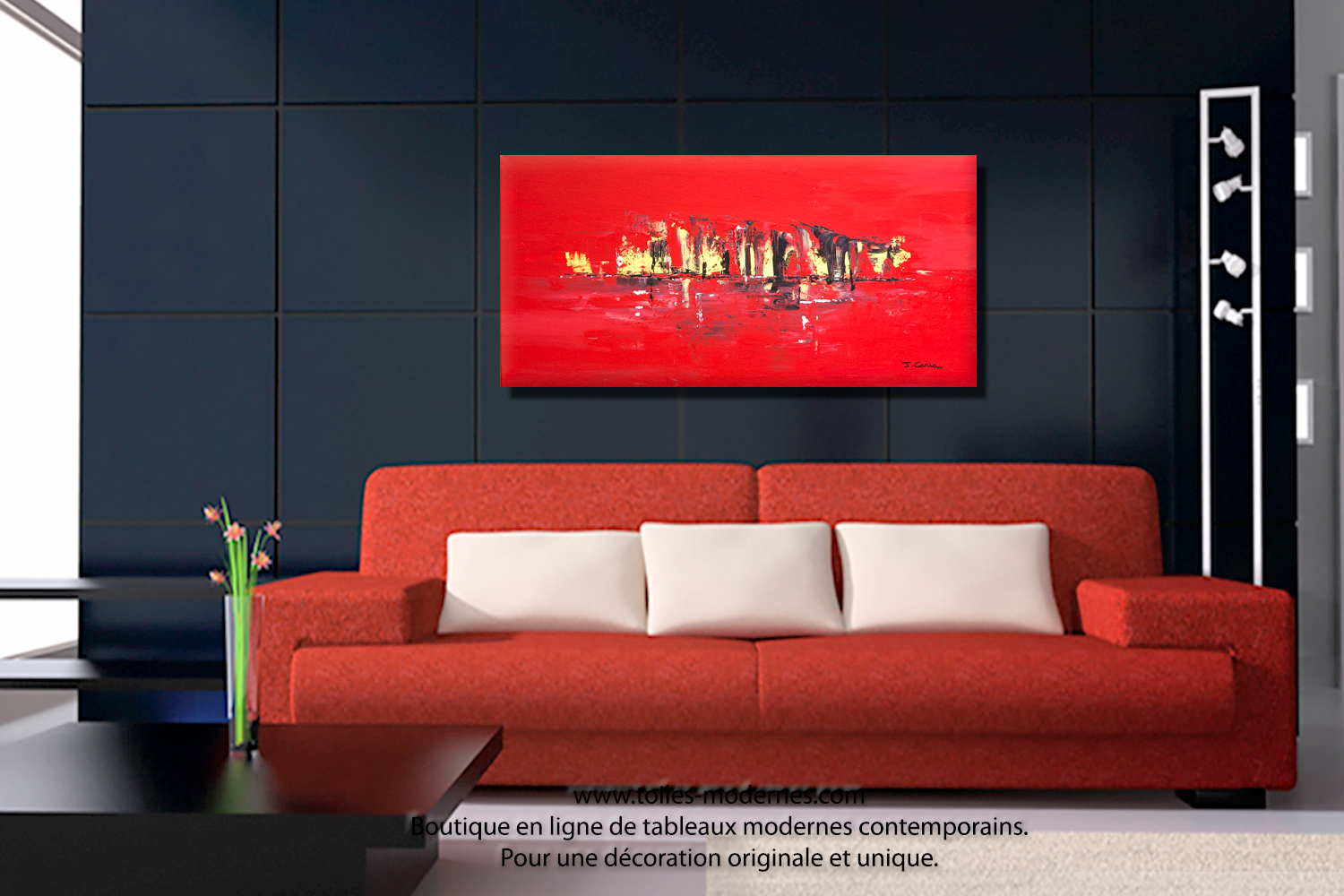 Tableau mer contemporain rouge format panoramique grandes dimensions d co cou - Tableau salon moderne ...