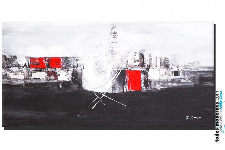 Tableau abstrait Aube à l'horizon (noir blanc)