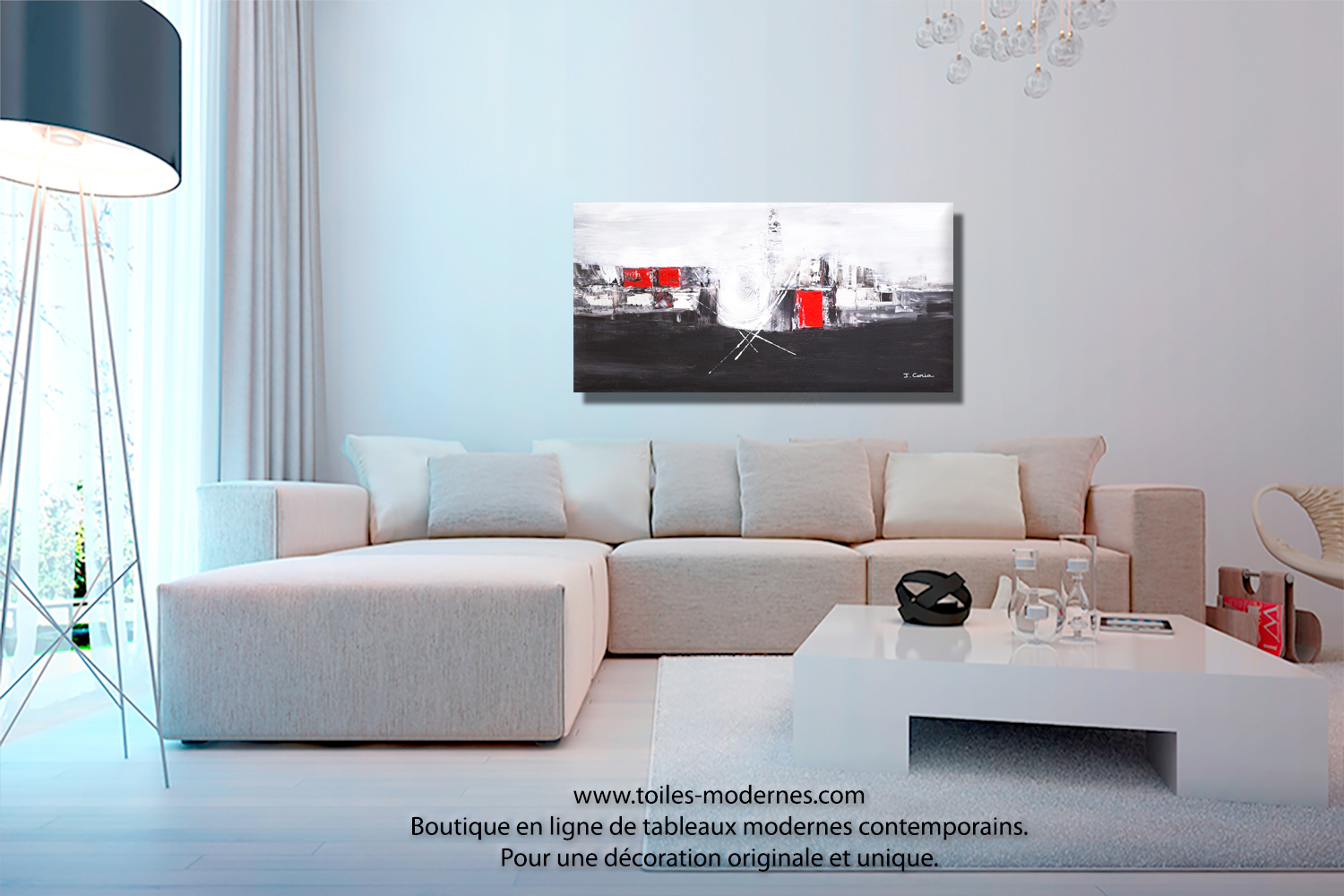 tableau panoramique noir blanc design grand format d coratif pi ce unique art abordable. Black Bedroom Furniture Sets. Home Design Ideas
