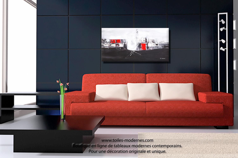 Tableau panoramique noir blanc design grand format décoratif ...