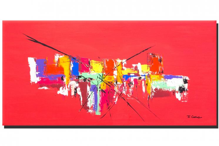 Grand tableau rouge pour int rieur design format horizontal pour d coration m - Tableau de decoration ...