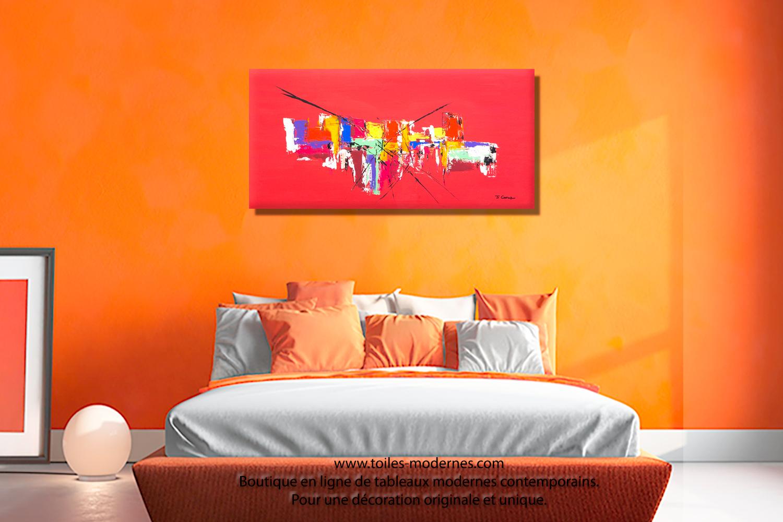 Grand tableau rouge pour int rieur design format horizontal pour d coration moderne intense - Deco dessus de lit ...