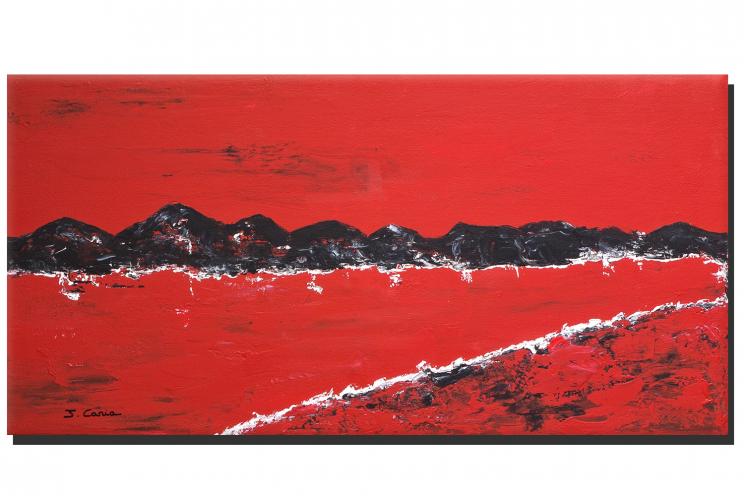 Tableau contemporain Les montagnes (rouge)