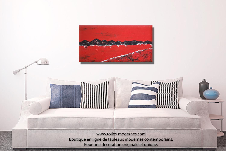 Tableau rouge Les montagnes moderne