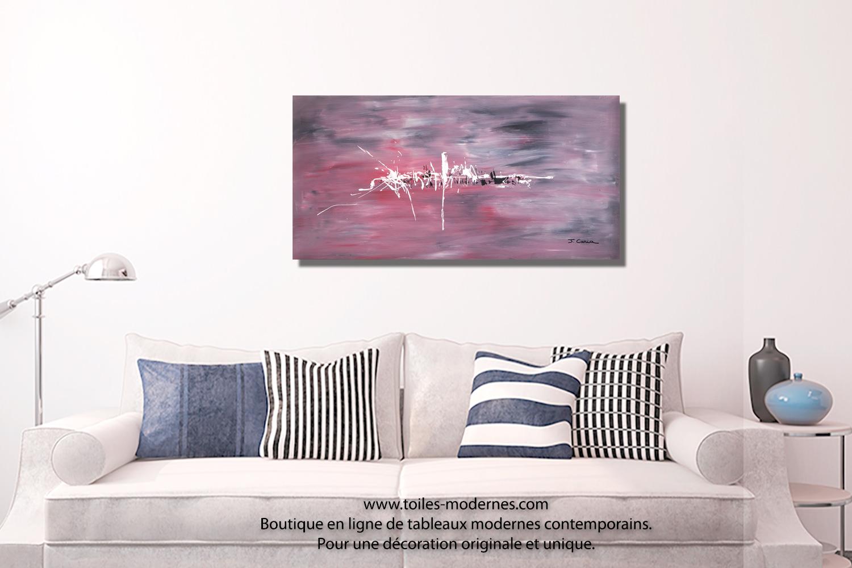 Tableau rouge gris contemporain créations abstraites grands formats ...