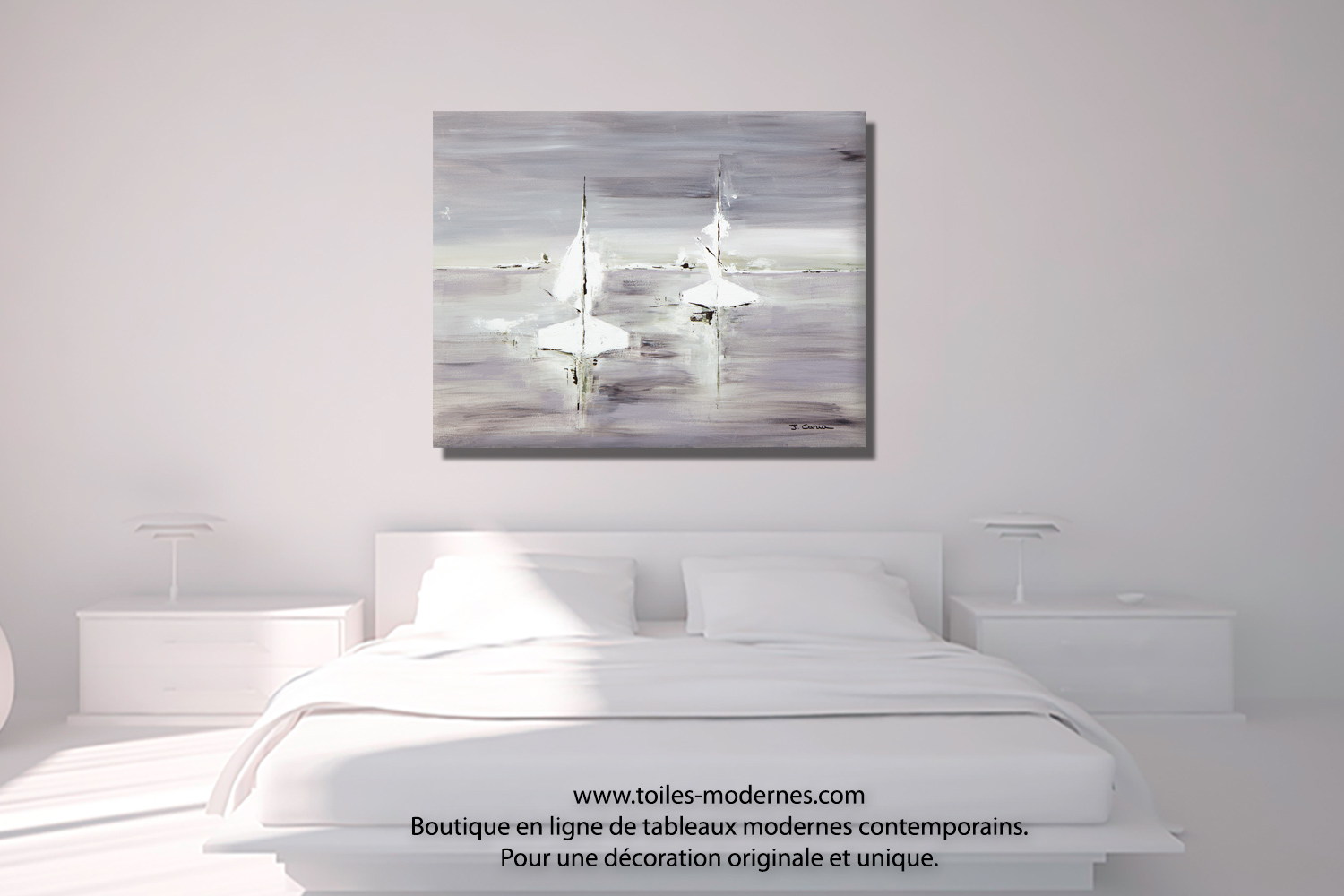Tableau gris voyage en mer grand format rectangle for Chambre parentale noir et blanc