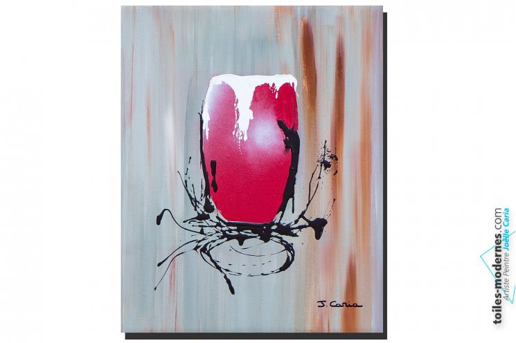 Création tableau moderne gris rouge Mousse chantilly