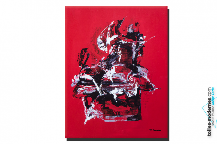 Tableau contemporain rouge noir Réflexion