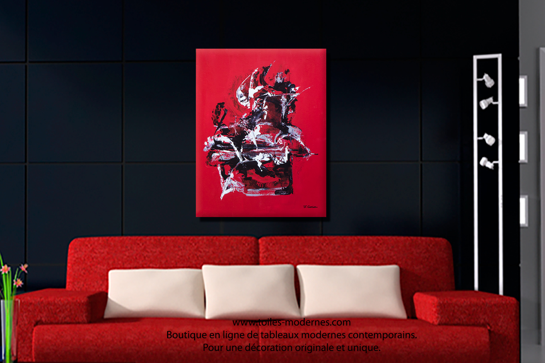 Salon Marocain Moderne Noir Et Rouge : Tableau salon moderne maison design wiblia