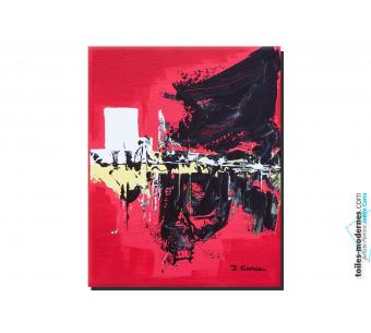 Toile rouge et noir contemporain Discernement