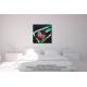 Tableau noir vert au-dessus d'un lit Contraste