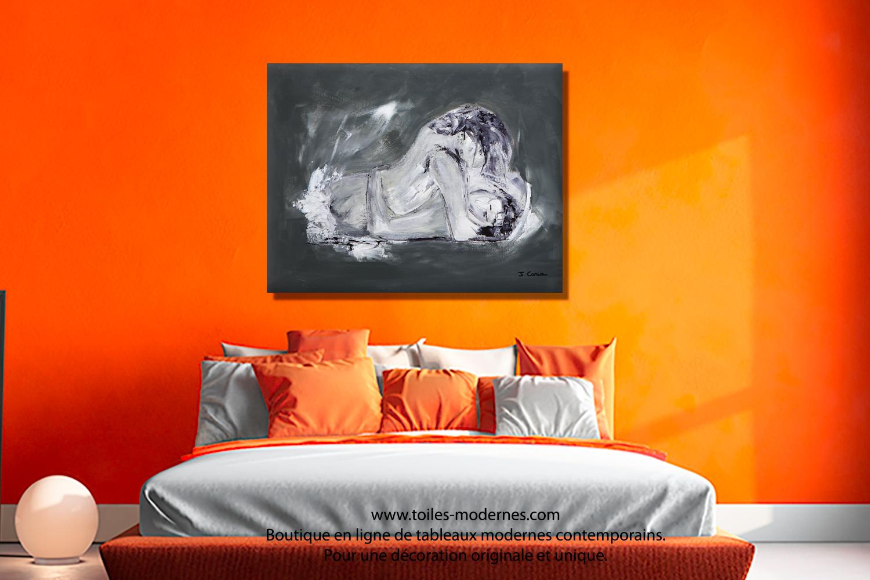 Tableau nu grand format panoramique gris anthracite Désir ...