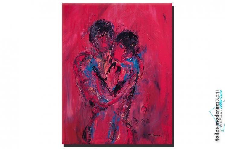 Tableau nu artistique rouge Le couple