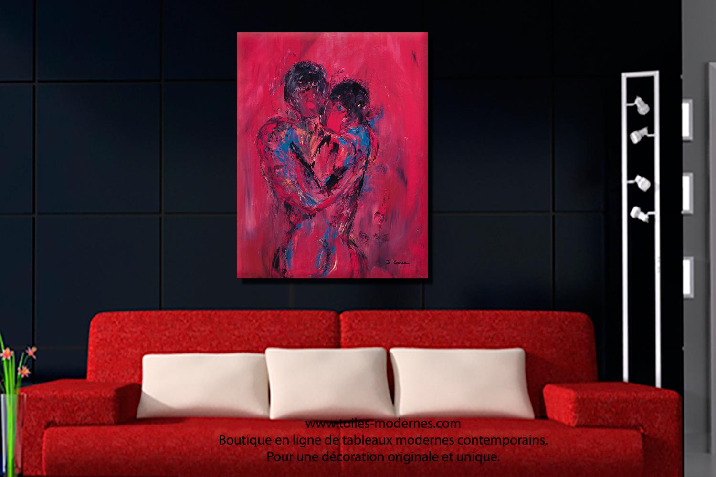 Tableau nu rouge Le couple format portrait XXL déco chaleureuse