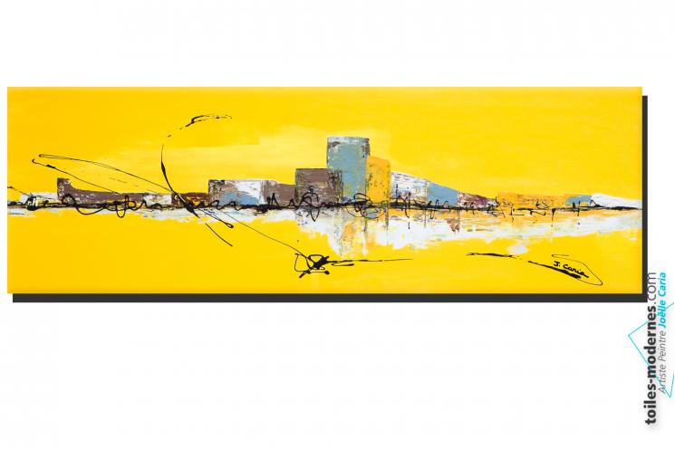 Tableau Jaune Grand Format Panoramique Xxl Art Abstrait