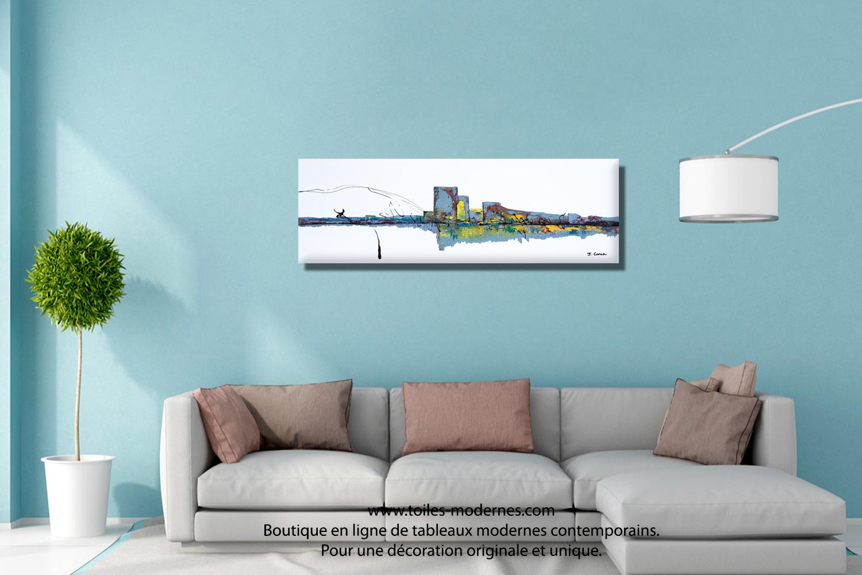 Tableau Blanc Ville Pure Grand Panoramique Art Abstrait Deco