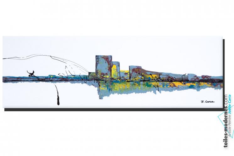 Tableau blanc grand format paysage abstrait Ville pure